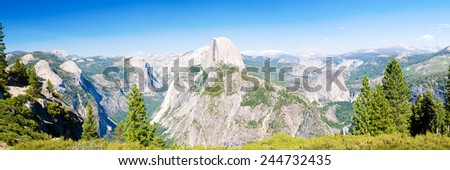 Yosemite National Park panoramic view from Glacier Point  - stock photo