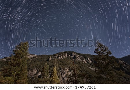Yosemite National Park Star Trails - stock photo