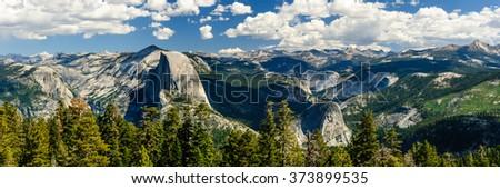 Yosemite panorama half dome - stock photo
