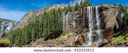 Yosemite Park falls sunny view in summer - stock photo