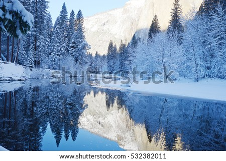 yosemite reflection in winter