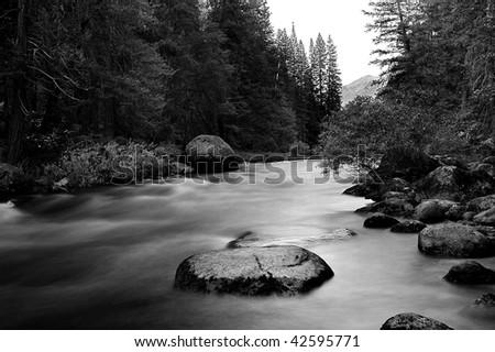Yosemite smooth river B&W - stock photo
