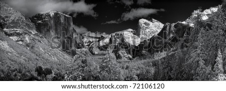 Yosemite Valley after a winter snowstorm.  Lots of detail in this panorama of eleven stitched files which includes El Capitan, Half Dome, Bridalveil Fall and more.   True infrared photography. - stock photo