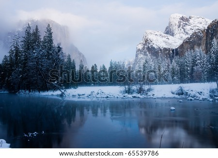 Yosemite Valley after sunset in winter - stock photo