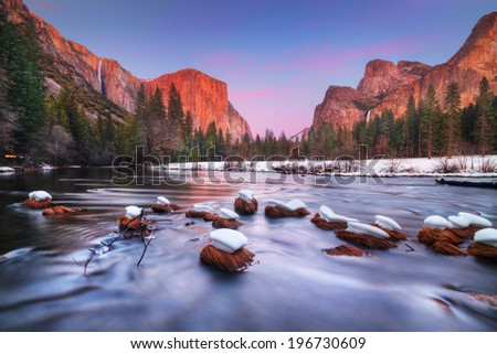 Yosemite valley at dusk. With El Capitan, Ribbon fall ,Bridalveil Fall and Merced River. - stock photo
