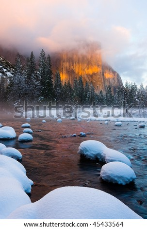 Yosemite Valley at sunset in winter - stock photo