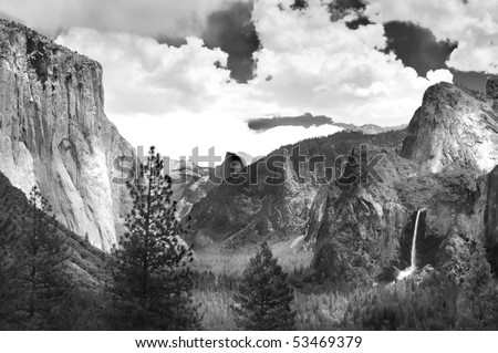 Yosemite Valley in black and white ala Ansel Adams - stock photo