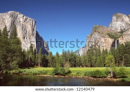 Yosemite Valley is a world-famous scenic location in the Sierra Nevada mountains of California. - stock photo