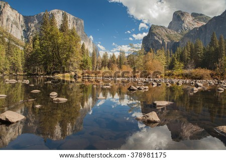 Yosemite Valley Merced River Reflection. Serene autumn morning