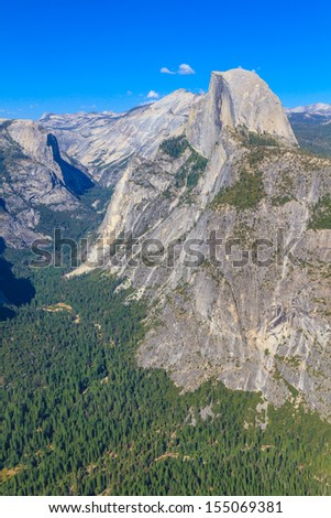 Yosemite Valley Panorama with Half Dome, California - stock photo