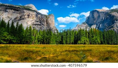 Yosemite Valley panorama.  Yosemite National Park, California USA. - stock photo