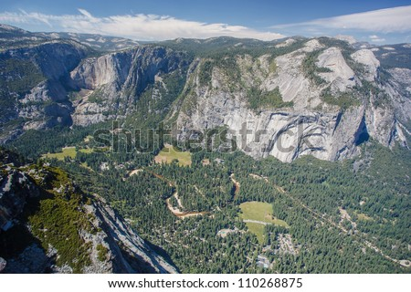 Yosemite Valley seen from Glacier Point in Yosemite National Park - stock photo