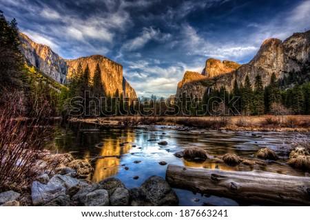 Yosemite Valley View at Sunset, Yosemite National Park, California - stock photo