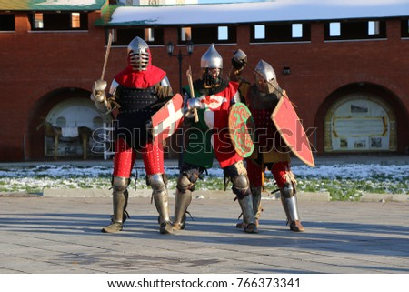 "YOSHKAR-OLA, RUSSIA - NOVEMBER 4, 2017: Festival of historical reconstruction ""Winter is near!"" - knight group battles and maneuvers in medieval style"