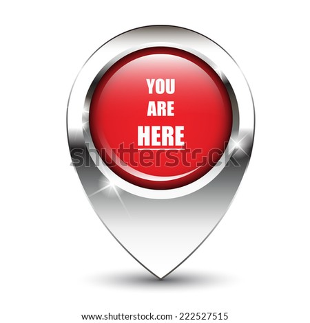You are here message on glossy map pin, against white background with shadow. - stock photo