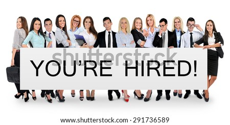 You are hired word writing on white banner - stock photo