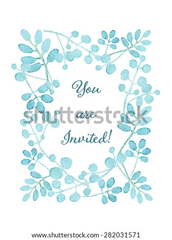 You are invited card. Floral wreath watercolor hand drawn. Spring or summer design for invitation, wedding or greeting cards - stock photo