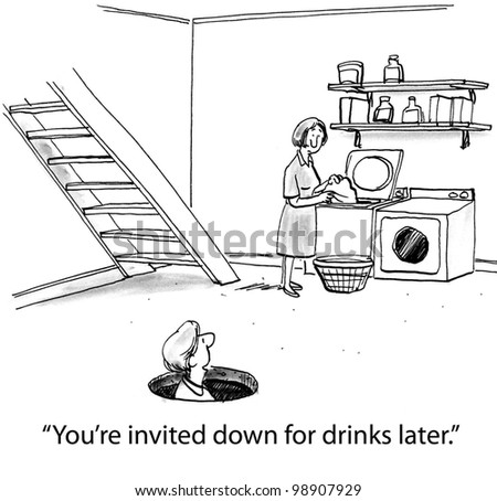 you are invited down for drinks later - stock photo