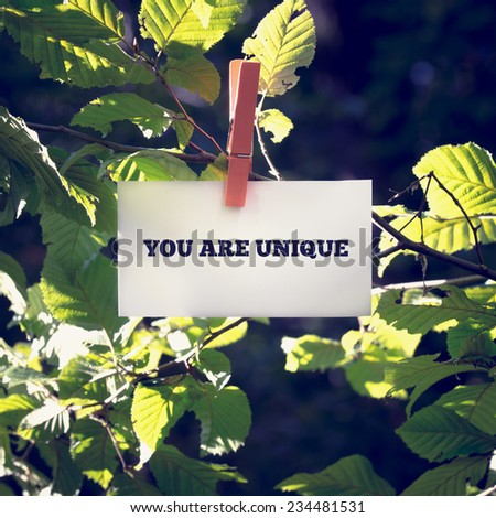 You are unique inspirational and motivational message on a white card or sign hanging by a clothes peg from a green leafy branch outdoors. - stock photo