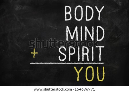 You, body, mind, soul, spirit - a mind map for personal growth - stock photo