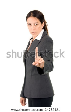 You business woman raising her finger as a warning - stock photo