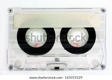 You can add text on white label of retro cassette. - stock photo