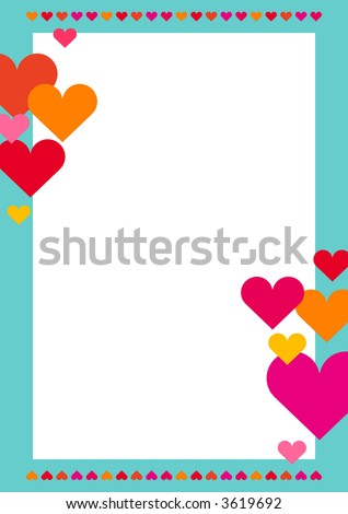 You can use this border with hearts as a background for letters, mail, invitations, giftcards or as a picture-frame - stock photo