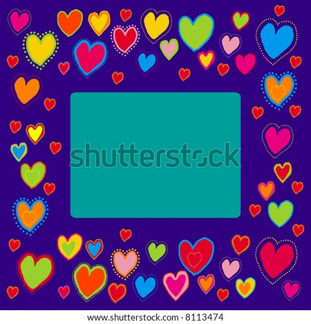 You can use this border with hearts as a background for letters, mail, invitations, giftcards or as a picture-frame. - stock photo