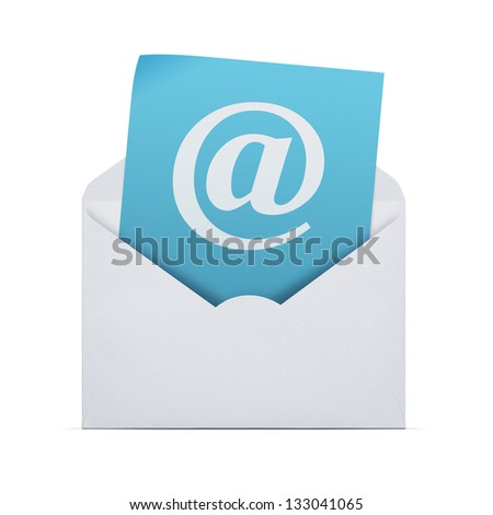 You have got mail, open envelope with email note isolated on whited with clipping path