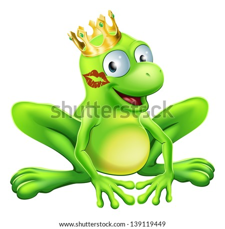 You have to kiss a lot of frogs to find a prince or princess. A frog wearing a crown with red lipstick on his or her cheek - stock photo
