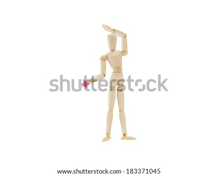 You're fired Pink Slip Post it Note Hand of Mannequin isolated on white background - stock photo