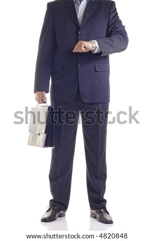 You're late-Businessman checking the time - stock photo