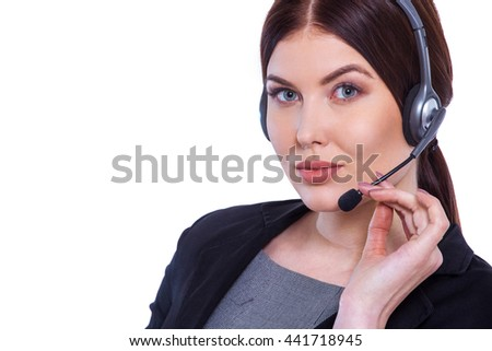 You've reached the helpline. Beautiful young operator of call center in headset isolated on white background - stock photo