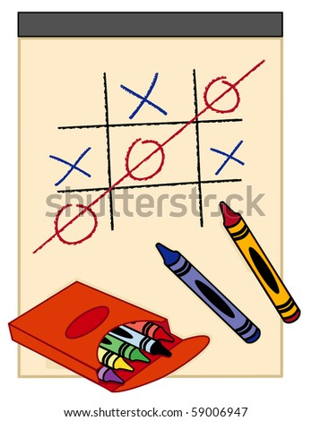 You Win, Tick Tack Toe Game. Drawing paper and box of crayons. - stock photo