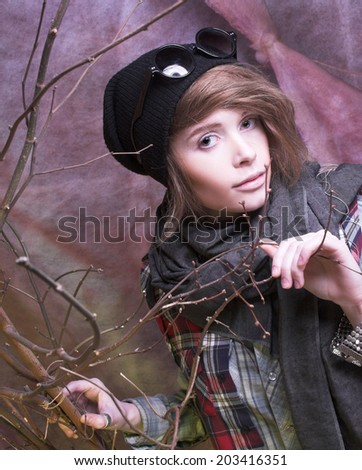 Youn woman in young hoodlum image - stock photo