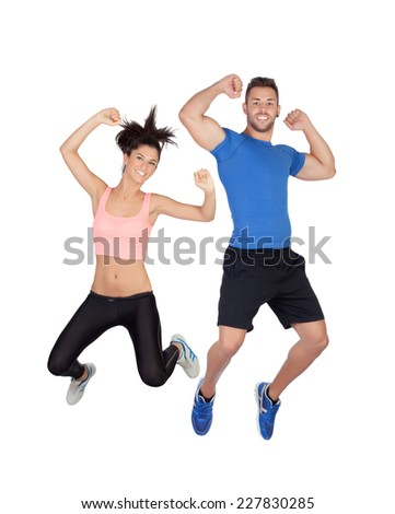 Young active sportswear jumping with isolated on white background - stock photo
