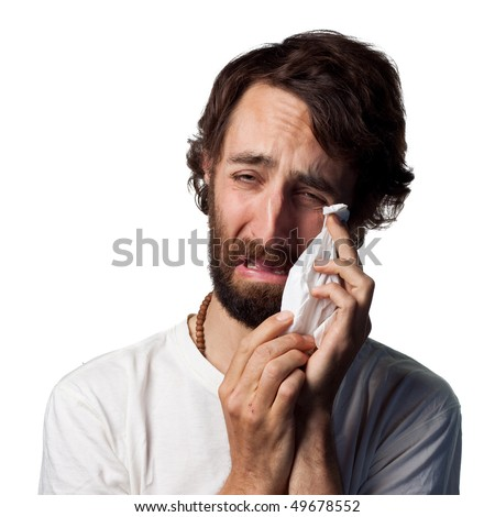 Young actor cries - stock photo
