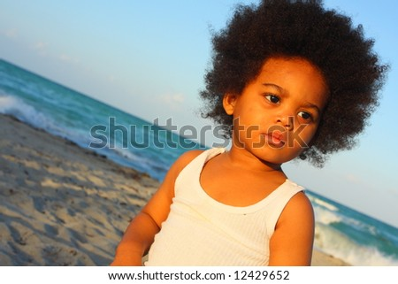Young adorable African American child - stock photo