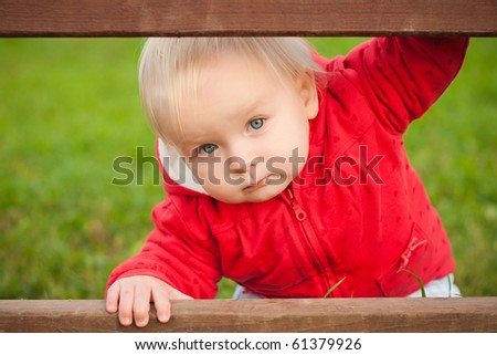young adorable baby looking between the wood fence in park - stock photo
