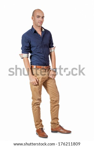 young adult attractive businessman smiling portrait isolated on white background - stock photo