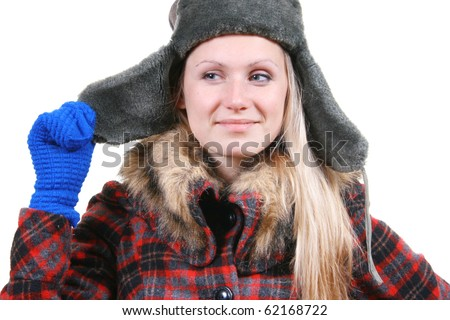 young adult attractive woman dressed in winter clothes