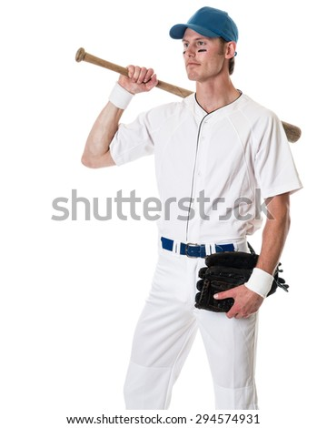 Young adult baseball player. Studio shot over white. - stock photo