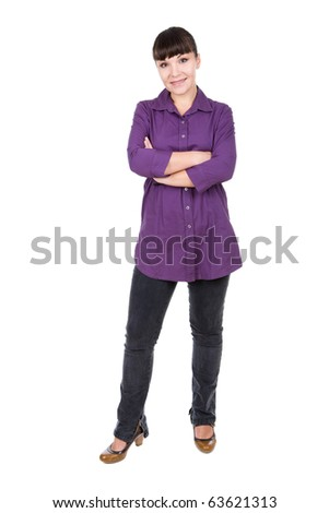 young adult brunette woman. over white background