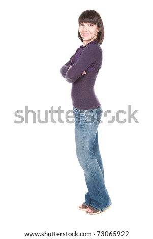 young adult brunette woman over white background
