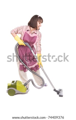 young adult brunette woman with vacuum. over white background