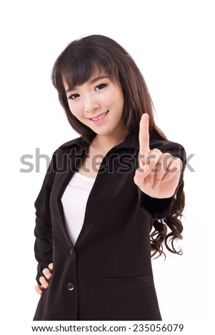 young adult business woman showing one finger, number 1 hand gesture - stock photo