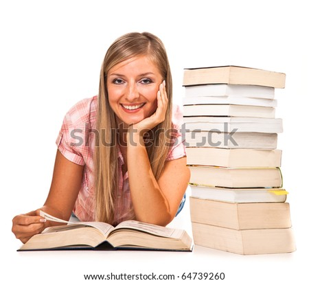 Young adult caucasian woman with books isolated on white