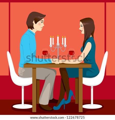 Young adult couple drinking red wine after romantic anniversary dinner together in elegant restaurant - stock photo