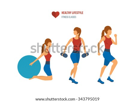 Young adult exercising in fitness gym. Sport fitness friendly female  - stock photo