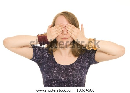 young adult female covering eyes on white background
